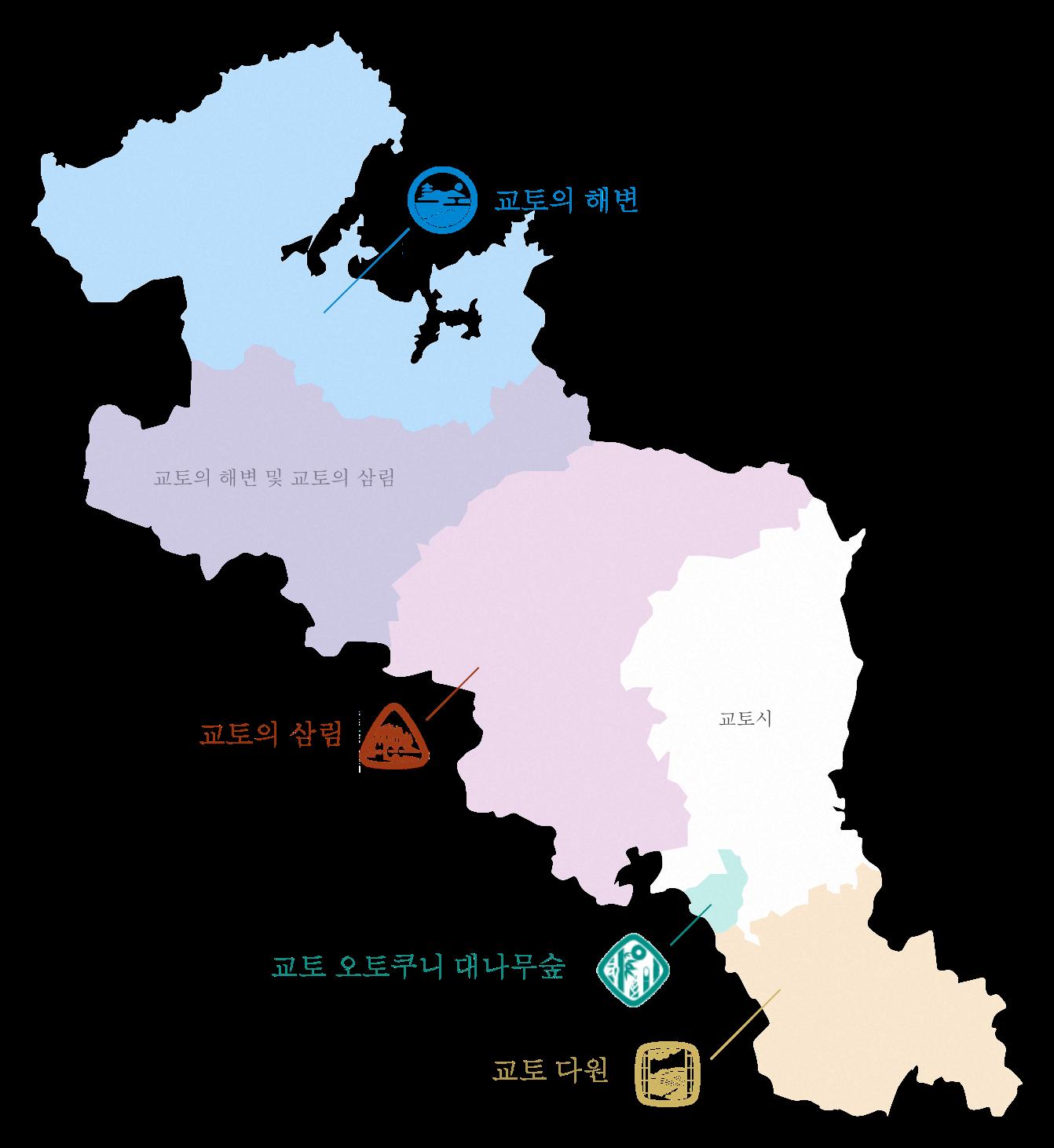 교토 지도로 보는 각 지역의 위치도