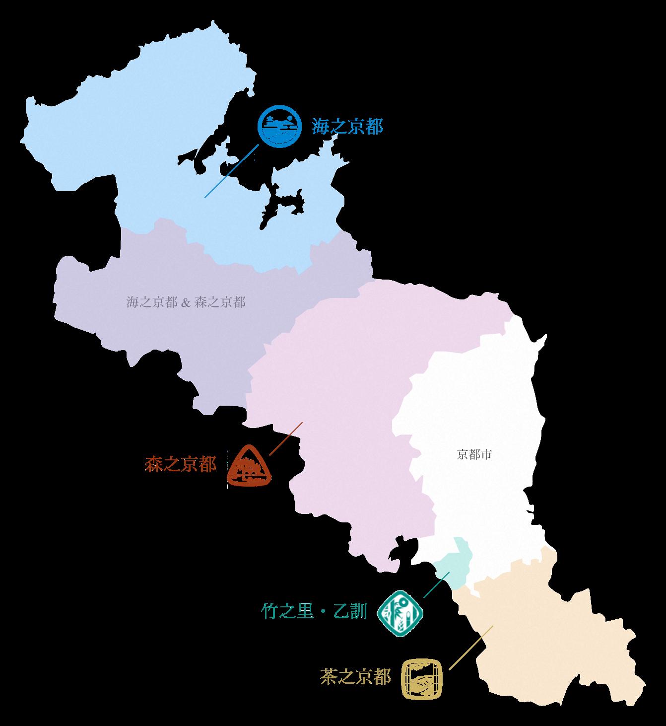 從京都府地圖中指出各地區的位置圖
