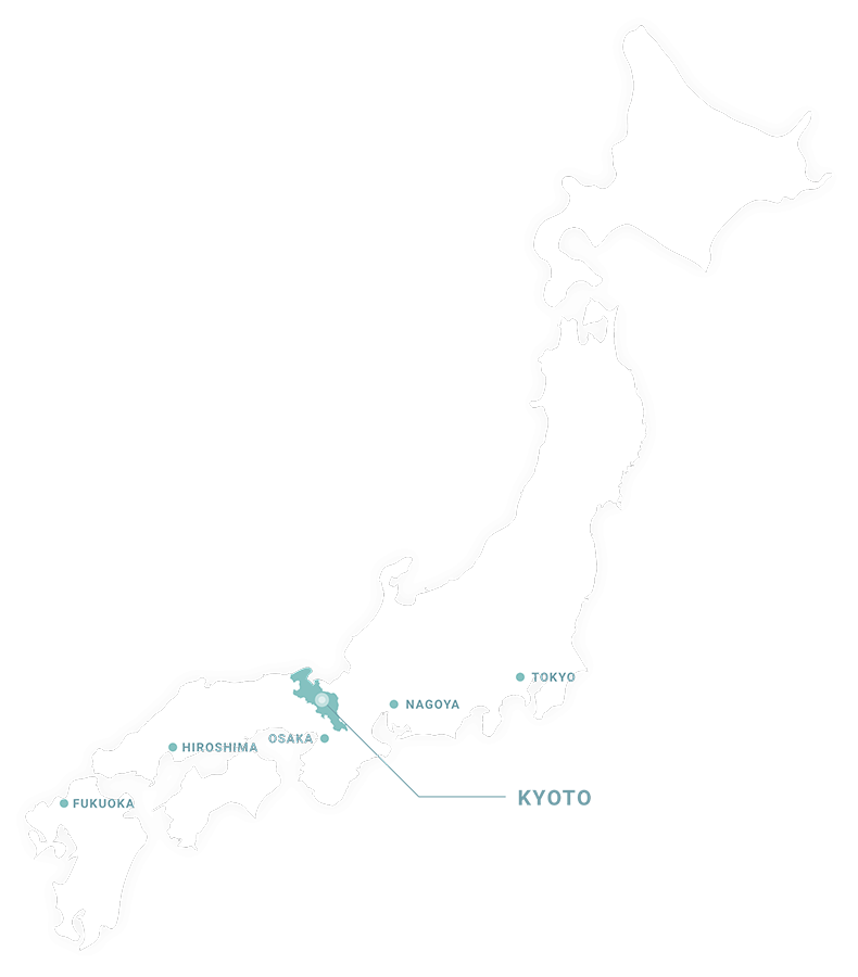 A map of Japan showing the location of Kyoto Prefecture