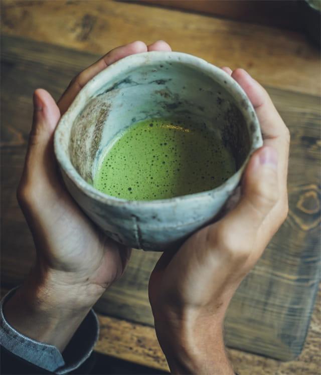 A bowl of matcha tea