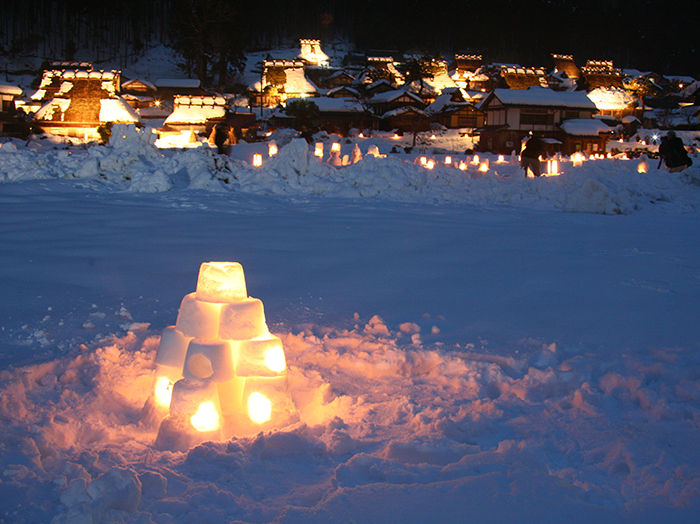 Snow Lanterns at Miyama Kayabuki no Sato Thatched Village