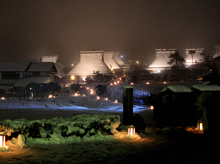Snow Lantern Festival in Miyama's Thatched Village